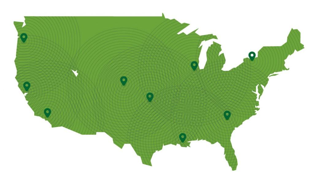 DiscGolfPark-edustajat sijaitsevat tasaisesti ympäri Yhdysvaltoja.