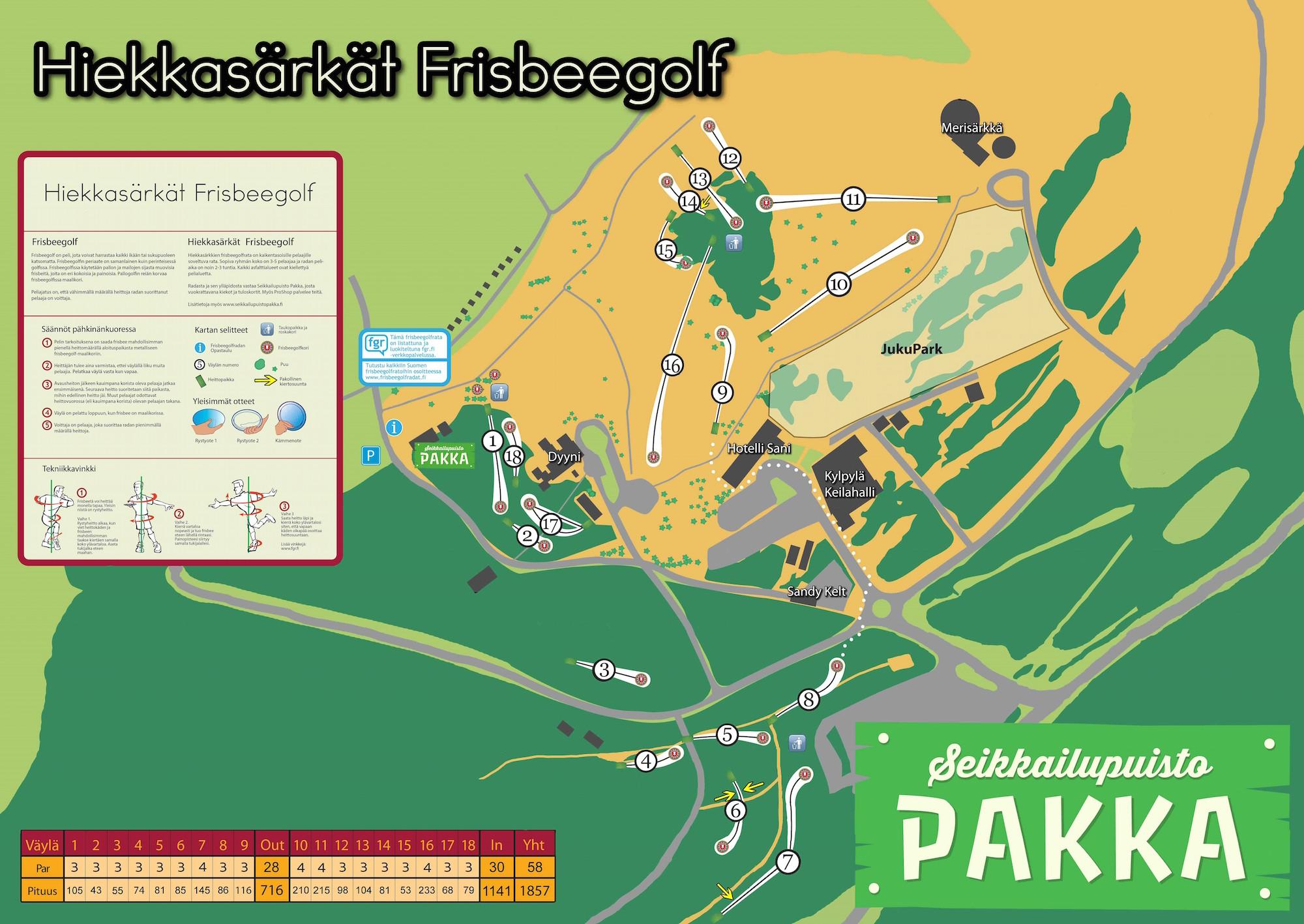 Hiekkasarkat Frisbeegolf Seikkailupuisto Pakka Radat