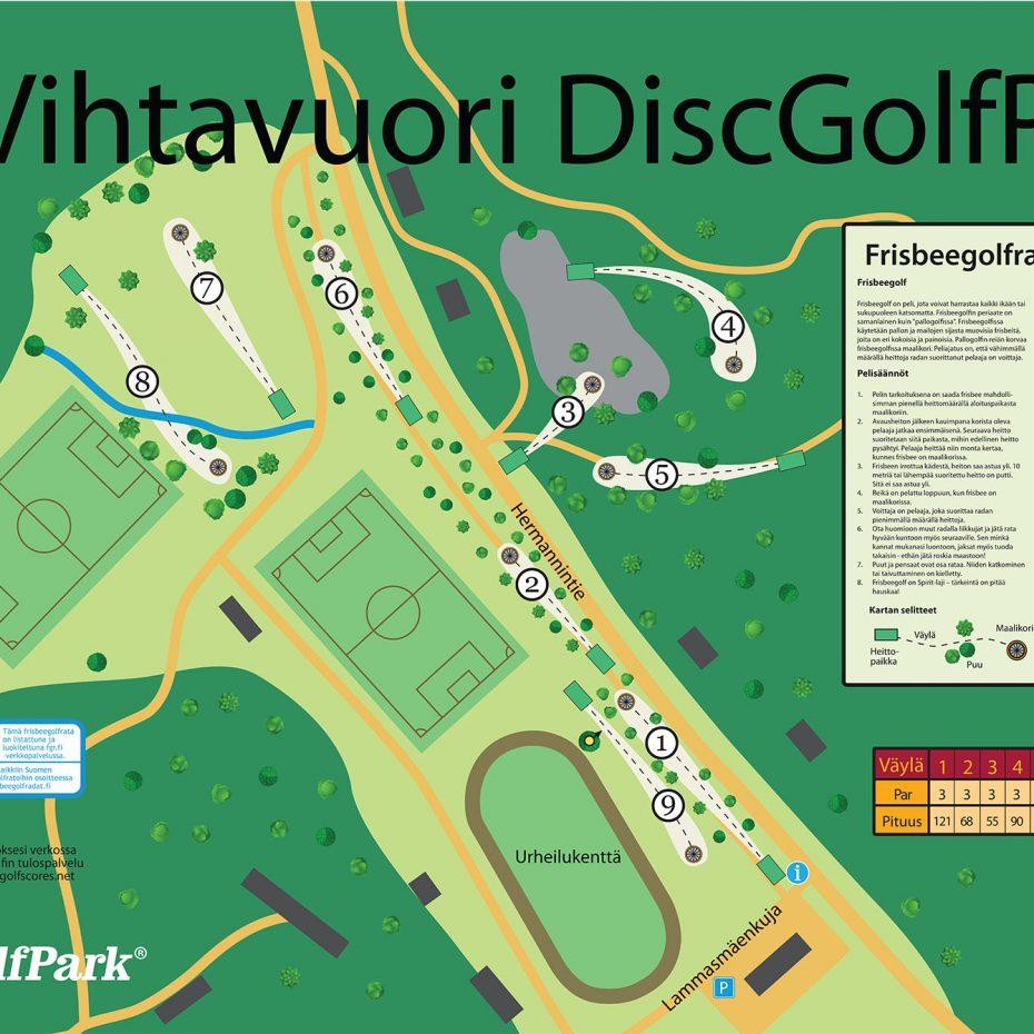 Vihtavuori Infoboard Ratakartta 2018 Frisbeegolfradat Fi